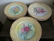 Hutschenreuther Germany Set Of 8 Handpainted Plate Roses Gold Signed H. Lasher