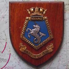 Vintage Oak HMS Resource Hand Painted Royal Navy Ship Crest Shield Plaque