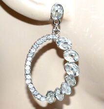 ORECCHINI argento strass donna cristalli pendenti ovali eleganti ragazza G32