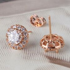 White sapphire vintage style 18K rose gold filled  FASHION stud earring