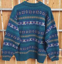 Vtg MICHAEL JORDAN by Lowell Dryfus Sweater-XL-100% Wool-Green-Geometric-Winter