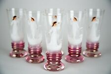 Antique Mary Gregory Iridescent Glass Painted Enamel Tumbler Glasses, Set of (6)