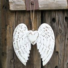 Hand Crafted Angel Wing & Heart 24cm Vintage style, Blackboard Paint