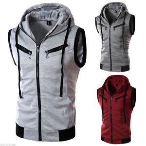Mens Sleeveless Hoodie Vest Coat Jacket Tank Tops Zip Up Muscle Hooded Waistcoat