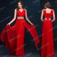 BEADED + CHIFFON Wedding  Evening Long Dresses Gown Homecoming Bridemaids Formal