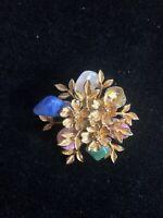 "Vintage Gold Tone & Gemstone Floral Brooch Pin 1.75"""