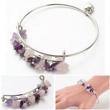 Rose Quartz Amethyst Bracelet Crystal Gemstone Bangle Chakra Heart Charm Silver