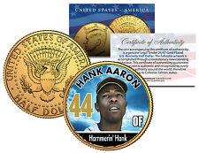"HANK AARON ""HAMMERIN HANK"" 24KT GOLD U.S. JOHN F. KENNEDY HALF DOLLAR! #44!"