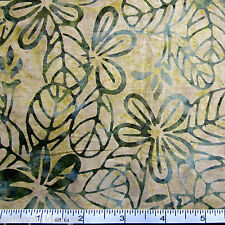 M030 - Moda Crush Batik- Hand Dyed Yellow Green Frangipani Fabric by the ½ metre