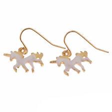 1pair unicorn earrings,3D unicorn pendant ear rings,Cute earrings,White color