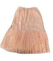 Vintage Vanity Fair Tricot Coral Peach Lace Pleated Slip Skirt Size Small