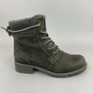 CLARKS Orinoco Grey Leather Lace Zip Up Combat Ankle Bootie Boots Size UK5 D