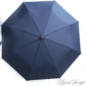 NWT #1 MENSWEAR Brooks Brothers Navy Pinstripe Wood Handle Collapsible Umbrella