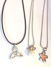 3  1980s Pendant on Silver Tone Chains/Leather Cord.