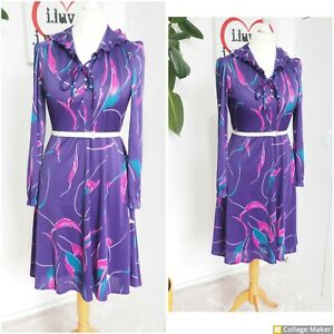 Vintage 70s Purple & Pink pattern Frill Collar Fit & Flare Midi Dress Size 12