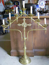 ANTIQUE VTG CHURCH ALTAR CROSS GOLD BRASS CANDELABRA Holds 7 Candles