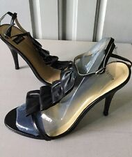 GORGEOUS BERTIE BLACK LEATHER PLEATED STRAP SHOES SIZE 6/39