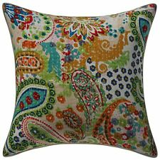 Indian Cotton Throw Pillow Cover Beige 16 Inch Kantha Paisley Cushion Cover 1 Pc