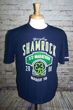 Irish Shamrock T-shirt 2008 1/2 Marathon Virginia Beach Yuengling Beer Mens Navy