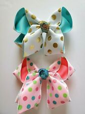 Hair Bows Set 2 X Large Barrettes Sparkle Sequins Girls Toddlers Princess 6""