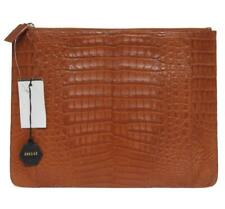 New Nancy Gonzalez Large Structured Cognac Crocodile Clutch Bag