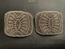 Beaded Flapper Shoe Buckles - VINTAGE - Silver marcasite - ANTIQUE!