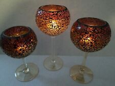 """Partylite Siena Lights Trio Stemmed Tealight Holders 8"""" 7"""" and 6"""" Crackled Glass"""