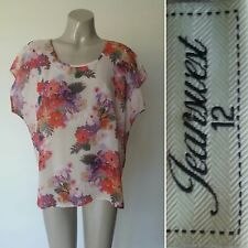JEANS WEST FLORAL SHEER TOP - SIZE 12