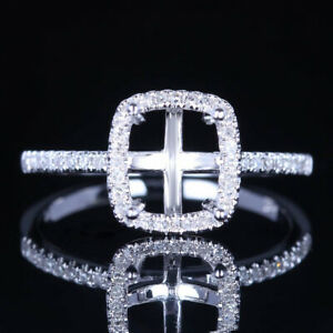 10K WHITE GOLD 7X6mm CUSHION CUT SEMI MOUNT REAL DIAMONDS WEDDING RING 6.5#