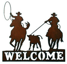 Rodeo & Roping Sign Rustic Metal Welcome Sign Team Ropers Western Ranch Decor