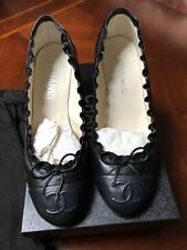 Chanel Shoes Black Pumps Escarpins Size 40 Heels Leather Logo, US Size 9