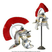 Roman Legion Officer Helmet with Red Plume Armor Gladiator Costume LARP