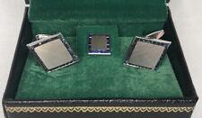 Lucien Piccard Vintage 14K WHITE GOLD SAPPHIRE CUFFLINK - Tie Pin SET SWISS MADE