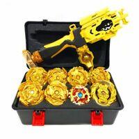 8x Beyblade Burst Gold Gyro Set w/ Grip LR Launcher + Portable Storage Box Case