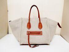 Authentic CELINE Beige Dark Brown Luggage Small Square Phantom Hemp Tote Bag