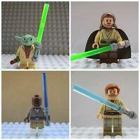 4 X Mini Figures use with lego Yoda Mace Windu Qui Gon Jin Obi Won Kenobi jedi