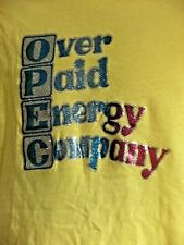 Men's 1970's OPEC OVER PAID ENERGY COMPANY IRON ON Decal Large Yellow Shirt
