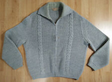 Bleyle Marshall Field Men Sweater 40 Wool Cable Knit Full Zip Long Sleeve Grey
