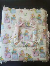 Vintage Blocks baby girl boy Fabric Quilted Baby Photo Album Scrapbook New RaRe