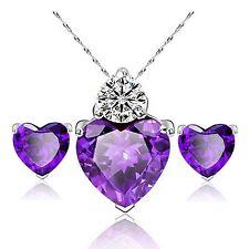 Elegante Ciondolo a forma di cuore viola Cubic Zircone Gioielli Set Collana Orecchini