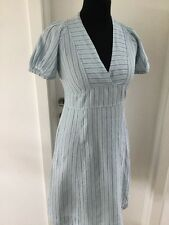 NOA NOA - BEAUTIFUL DUCK EGG BLUE LINEN SUMMER HOLIDAY DRESS - size M