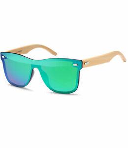 Damen Herren Sonnenbrille Bambus Holz Bügel Retro verspiegelt randlos 1273