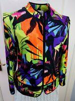 Vintage JOSEPH RIBKOFF Multi Colour Stretchy Jacket UK 10 Day Glo Y2K NEON 90s