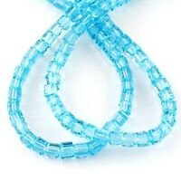 20 Glasperlen Würfel 6mm Aquablau Tschechische Kristall Perlen Schmuck BEST X267