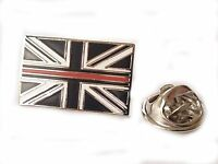 Thin Red Line Lapel Pin Badge Fire Brigade Remembrance Subdued Union Jack