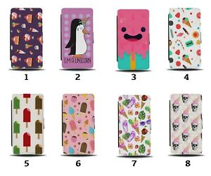 Ice Cream Flip Wallet Case Retro Vintage Pattern Candy Sweets 60s 50s Lolly 8212