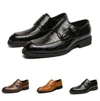 Mens Buckle Pointy Toe Work Oxfords Dress Formal Business Leisure Leather Shoes