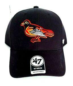 Baltimore Orioles '47 MVP Adjustable Black Cooperstown Cap Vintage Bird Logo New