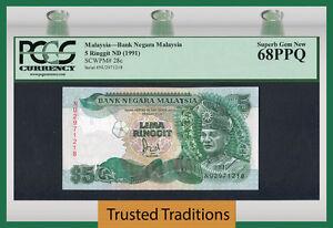 """TT PK 28c 1991 MALAYSIA 5 RINGGIT """"T. A. RAHMAN"""" PCGS 68 PPQ SUPERB GEM NEW!"""