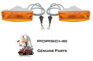 Left & Right Front Genuine Turn Signal Lights Assemblies For Porsche 911 74-89
